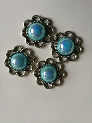 zilver 20 mm parelmoer turquoise