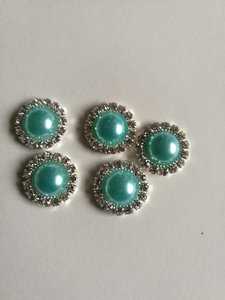 Parel met strassrand 14 mm turquoise
